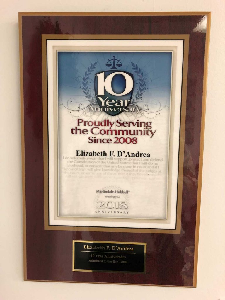 Elizabeth F. D'Andrea Esq. | 10 Year Anniversary